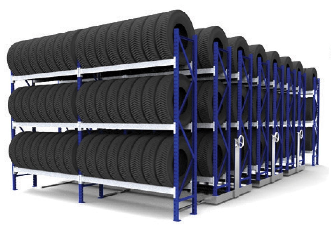 Double Mobile Tyre Racking