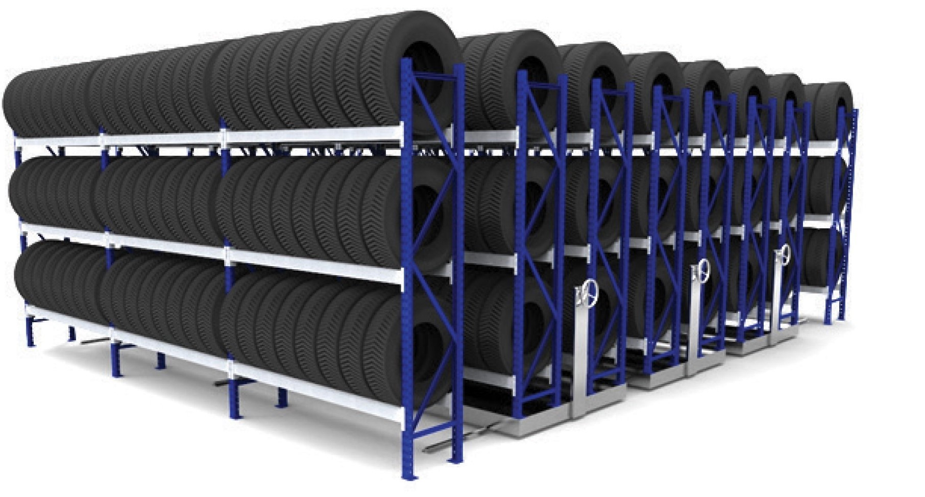 Triple Mobile Tyre Racking