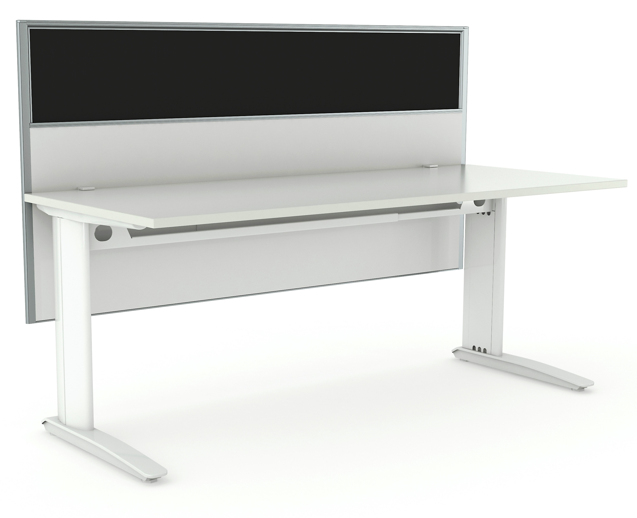 Aero White Desk FH Smoke Hung Screen