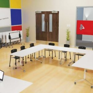 Collaborative learning spaces have furniture that can be easily rearranged to suit the style of the class.