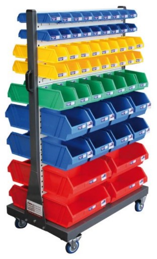 To help organise back of house items, why not try colour coordinated storage boxes on your hanger racks!