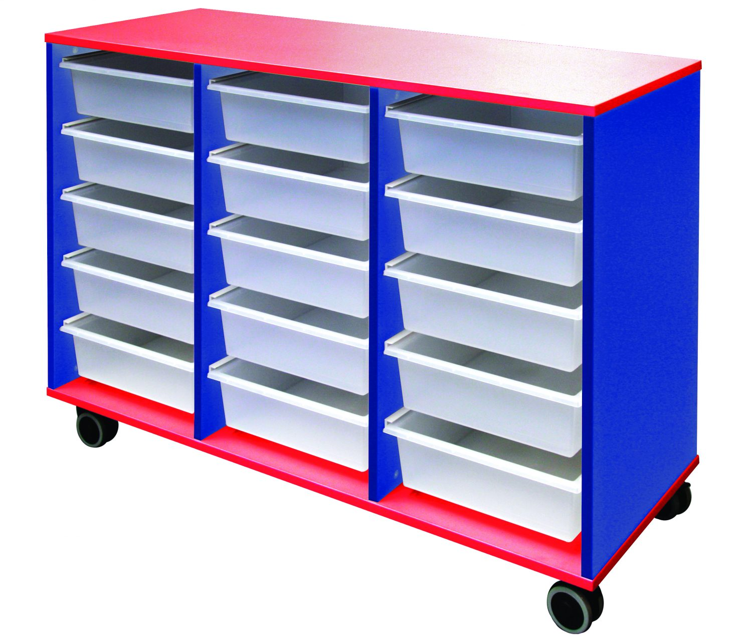 MELAMINE TOTE TROLLEY red&blue