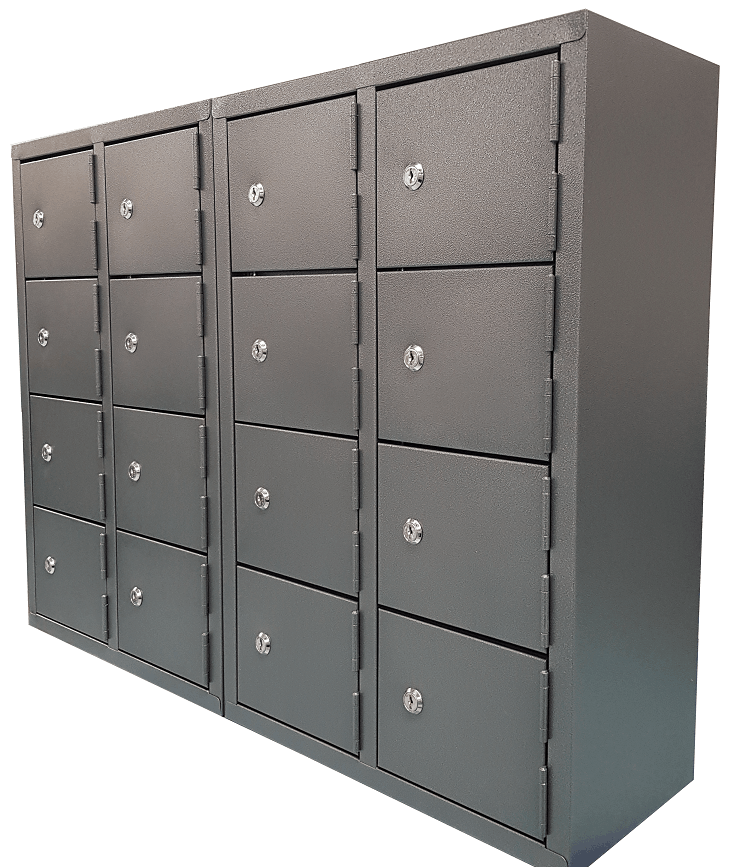 Mini Locker Bank of 2 Graphite Ripple side shot